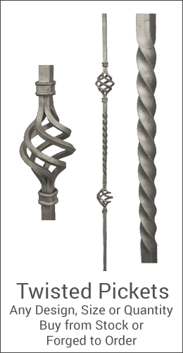 Twisted pickets and balusters for wrought iron installations. Wide variety and Excellent Quality from Superior Ornamental Supply.