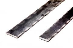 Machine hammered flat bar - hammered on the 2 corners (edges) - 20 ft Length - Decorative flat bar.