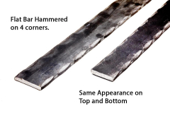 Machine hammered, decorative flat bar, hammered on the four corners. 20 ft long pieces. bundle pricing discounts.