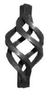 Forged steel basket - Wrought iron ornamental curled basket canenhancethelookofany steel fence, stair railing, gate,or door,sinceit can be added to a postorbaluster,making them morebeautiful. Our stock number 68-528