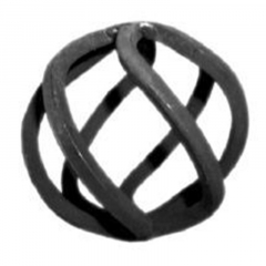 Forged Steel Baskets 68-550 -  Forged steel curled round shape basket. This wrought iron curled ball basket adds  a nice decorative touch to any plain steel baluster, post  or picket used in a fence or a gate.