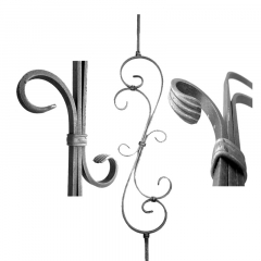 Baluster & Pickets SUI52-A-4S - With Large Scroll at the center and square bar at the ends.